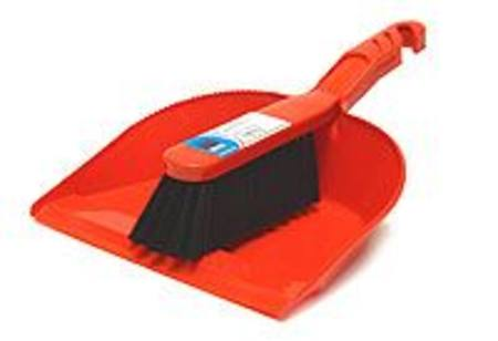DUSTPAN & BRUSH - RUBBER BLADED